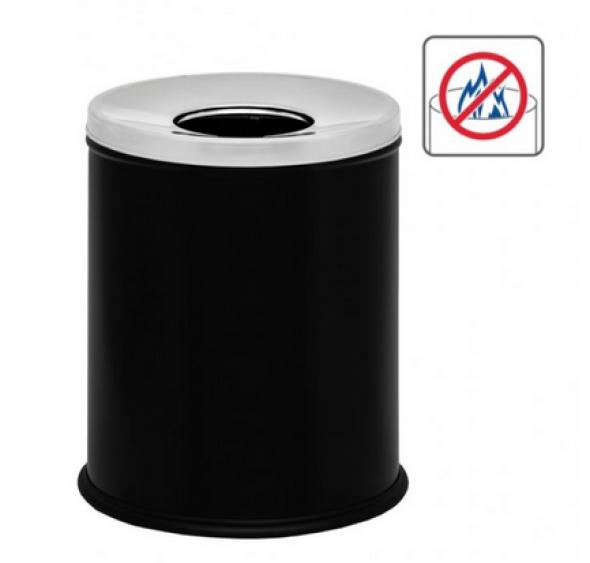 Stella pojemnik na śmieci z pokrywą 7 L właściwości przeciwpożarowe czarny 20103-B
