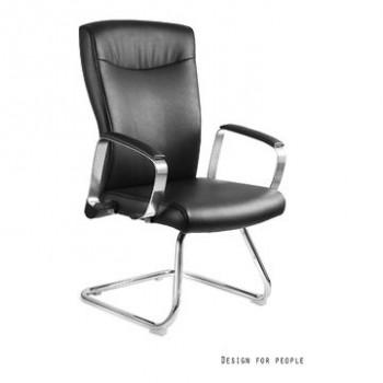 Krzesło biurowe ADELLA Skid Czarny, Ekoskóra  ✂ Zapytaj o RABAT! ✂️
