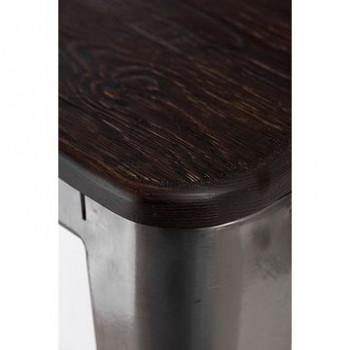 ★KUPON 10% NA STRONIE★ Stołek Paris Wood sosna szczotkowana Metaliczny  [Wysyłka 2020-12-30]