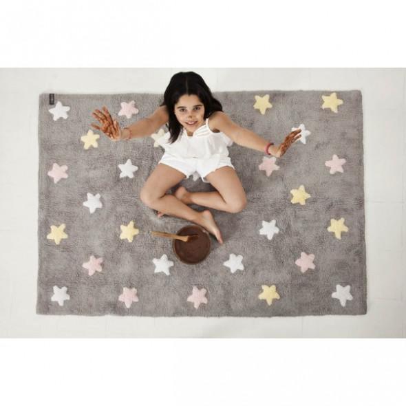 Dywan dziecięcy TRICOLOR STAR 120x160 szary/różowy ☞ Kupuj w Sprawdzonych i wysoko Ocenianych sklepach