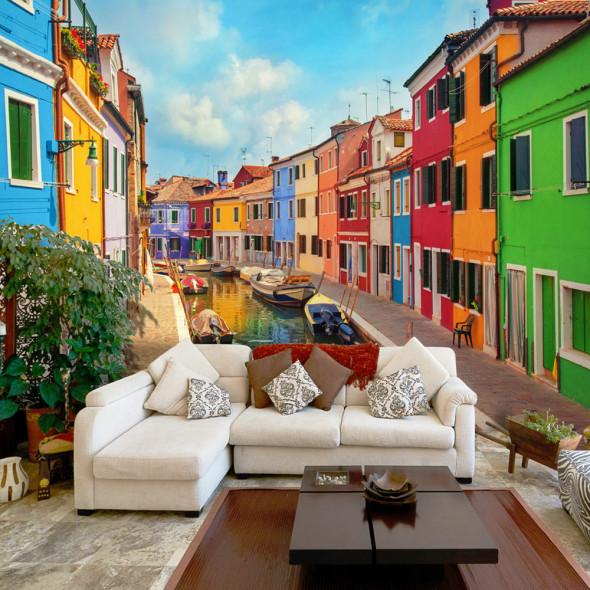 Fototapeta - Kolorowy kanał w Burano ☞ Kupuj w Sprawdzonych i wysoko Ocenianych sklepach