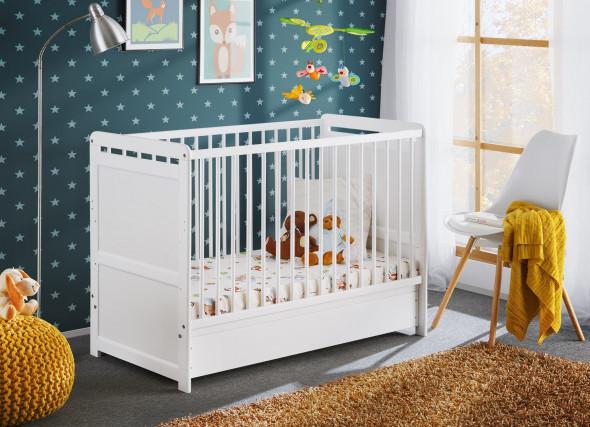 Łóżeczko TYMEK PLUS 120x60 biały mat ☞ Kupuj w Sprawdzonych i wysoko Ocenianych sklepach