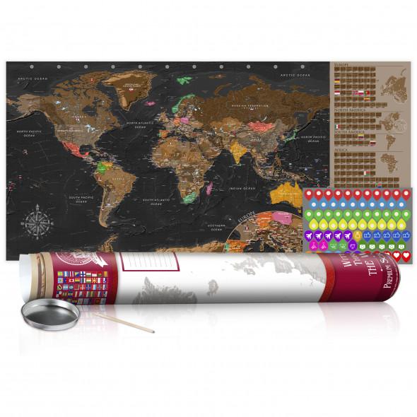 Mapa zdrapka - Brązowa mapa - plakat (wersja angielska) ☞ Kupuj w Sprawdzonych i wysoko Ocenianych sklepach