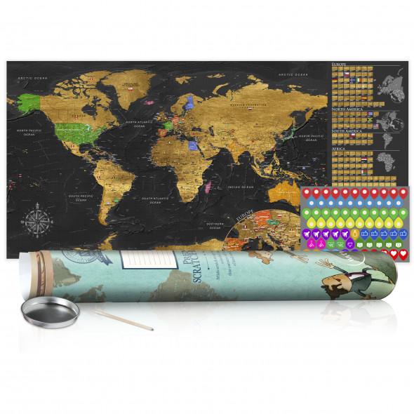 Mapa zdrapka - Złota mapa - plakat (wersja angielska) ☞ Kupuj w Sprawdzonych i wysoko Ocenianych sklepach