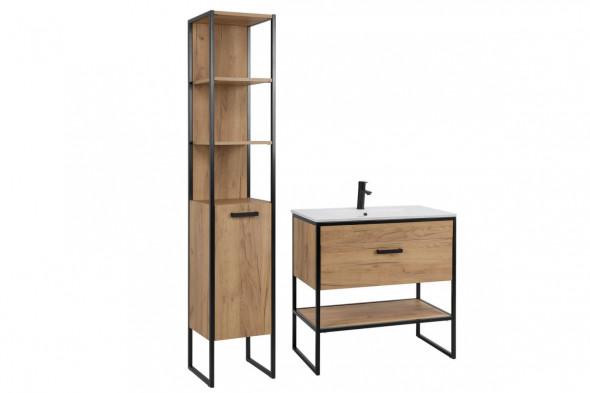 Zestaw mebli łazienkowych BROOKLIN 800 + 821 dąb craft złoty ☞ Kupuj w Sprawdzonych i wysoko Ocenianych sklepach