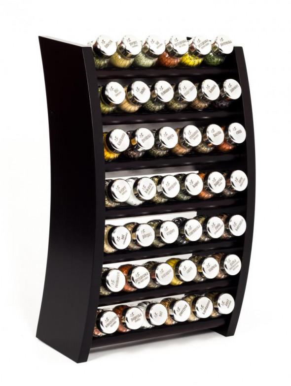 Gald Flipper Stojak na przyprawy przyprawnik półka 42 poj. kolor venge/zakrętki połysk
