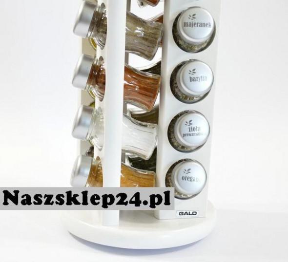 Gald Stojak na przyprawy przyprawnik 20 poj. obrotowy biały / zakrętki mat