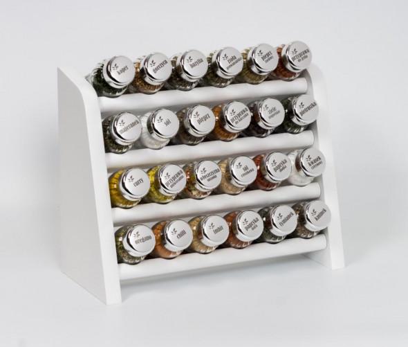 Gald Stojak na przyprawy przyprawnik półka 24 poj. kolor biały/zakrętki połysk