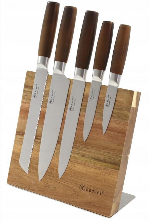 Kassel Zestaw 5 noży na desce magnetycznej drewno akacjowe