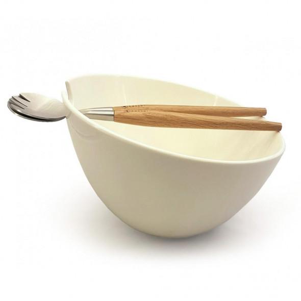 Kassel Zestaw do sałatek porcelanowa miska + łyżki