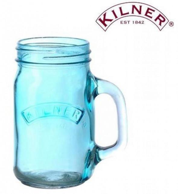 Kilner Kubek szklanka kufel słoik z uchem 400ml. niebieski 0025.680