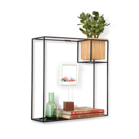 Umbra Półka loftowa z kwietnikiem Cubist czarna industrialna