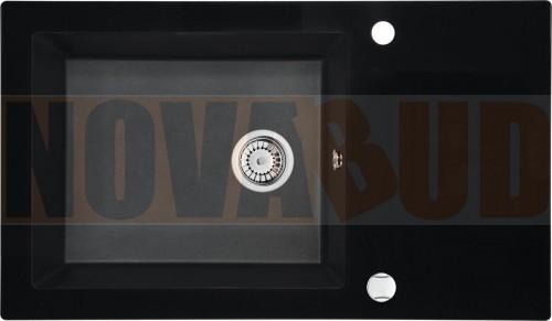 Deante Capella Zlewozmywak Hybrydowy szklano-granitowy 1-komorowy z ociekaczem grafitowy metalik ZSC GX2C