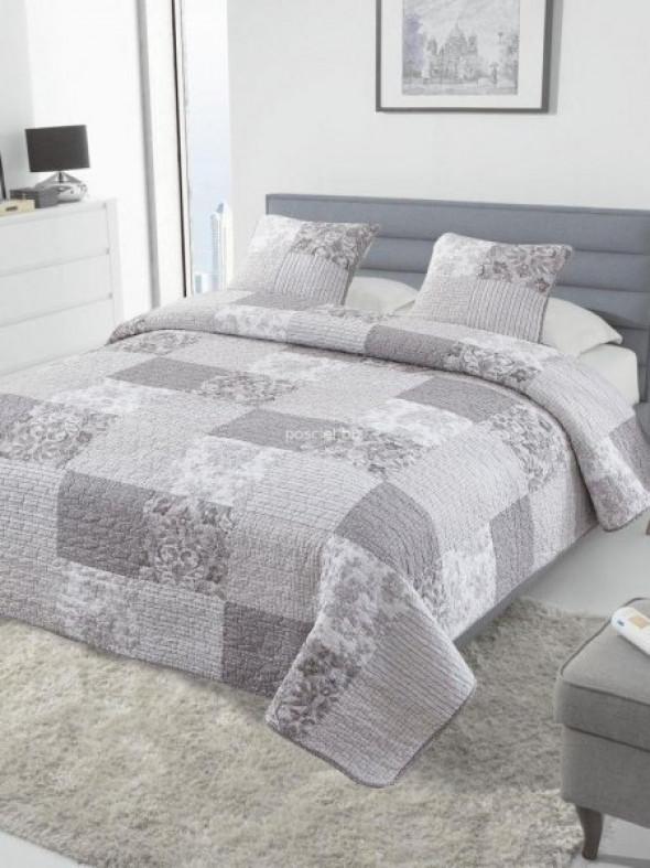 Narzuta bawełniana patchwork szaro-beżowy 240x220