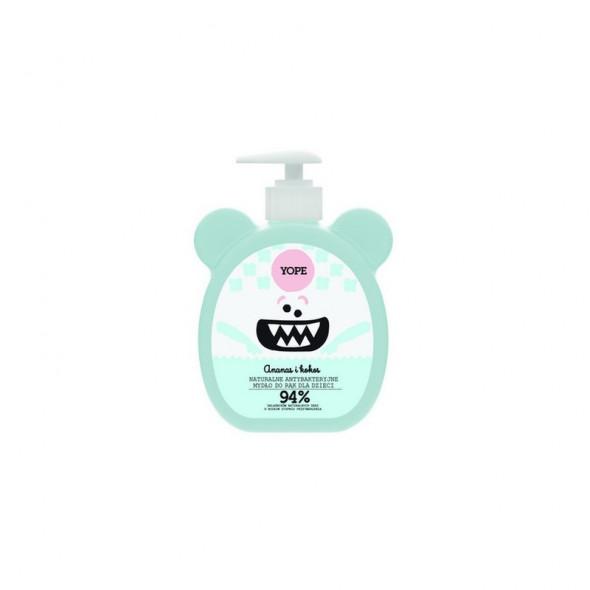 YOPE Naturalne Antybakteryjne Mydło dla dzieci w płynie Ananas i Kokos 400 ml