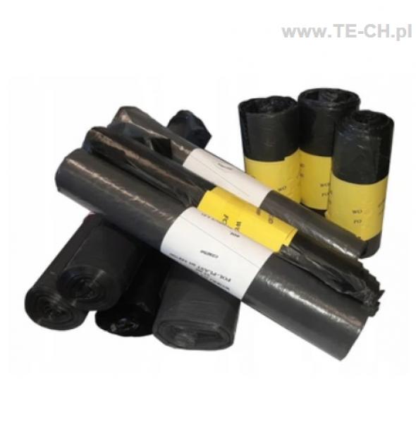 10x Worki na śmieci czarne LDPE grube 60l 25szt