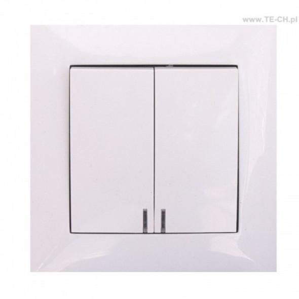 Włącznik światła podwójny podświetlany biały