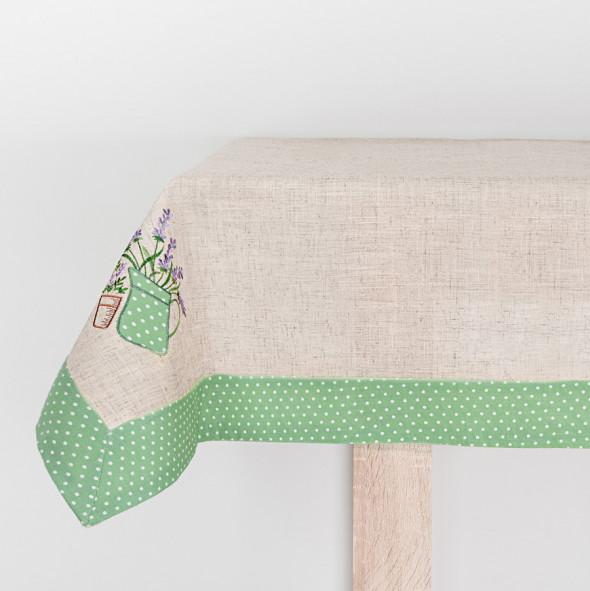 Bieżnik haftowany DIANA - 50x100 cm - lniany/zielony