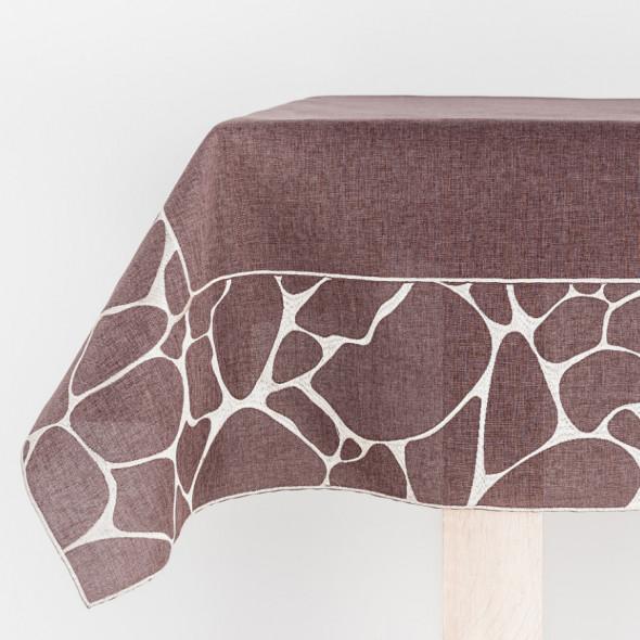 Bieżnik haftowany GRACE - 40x140 cm - mocca/szary