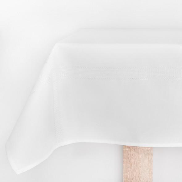 Bieżnik haftowany KATIE - 40x140 cm - biały