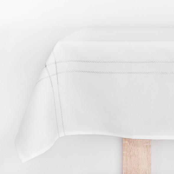 Bieżnik haftowany KATIE - 55x120 cm - biały/srebrny
