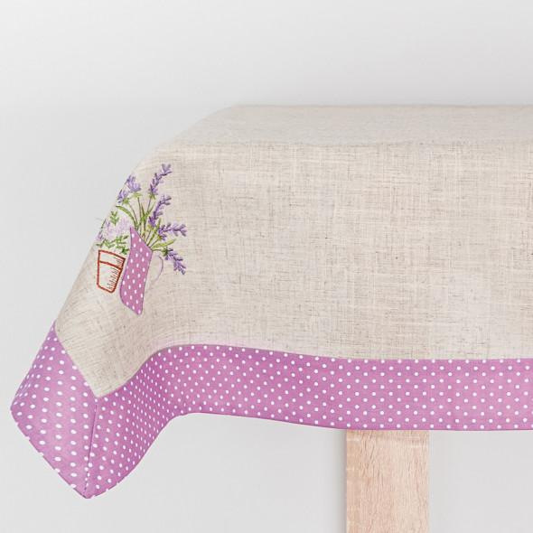 Bieżnik haftowany LAURA - 40x140 cm - lniany/fioletowy