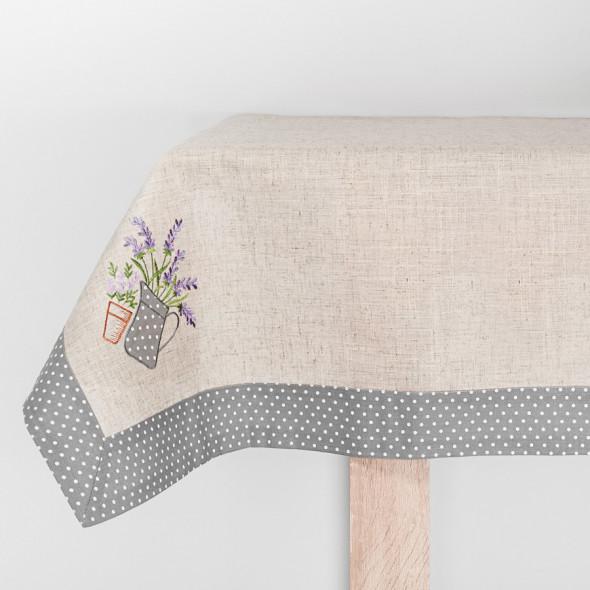 Bieżnik haftowany LAURA - 40x140 cm - lniany/szary