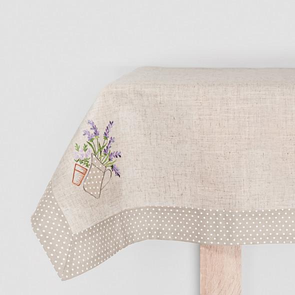 Bieżnik haftowany LAURA - 40x170 cm - lniany/beżowy
