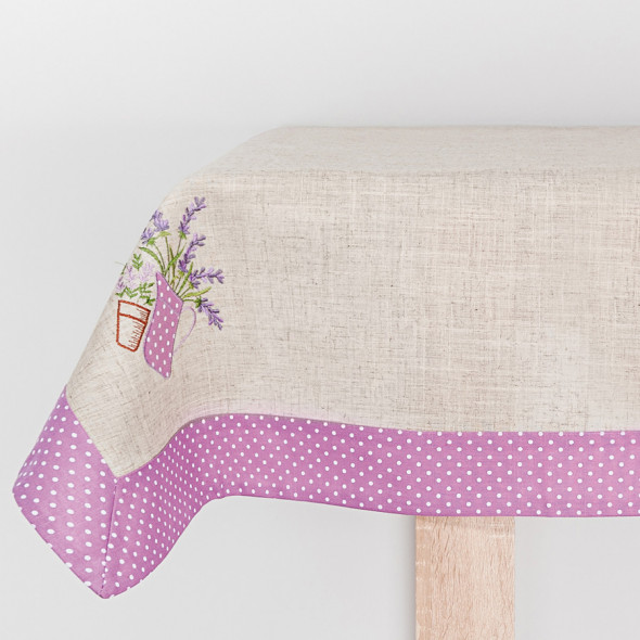 Bieżnik haftowany LAURA - 60x120 cm - lniany/fioletowy