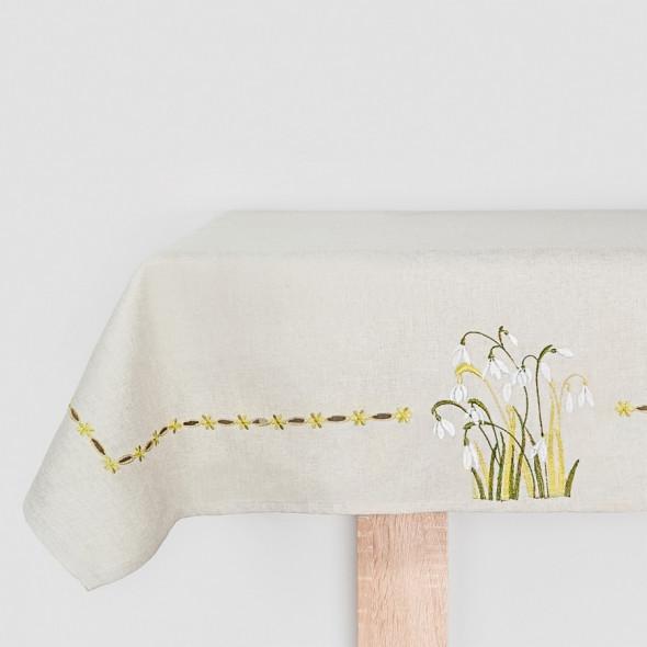Bieżnik haftowany SNOW - 55x120 cm - beżowy/zielony/biały