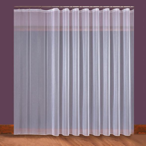 Firanka nowoczesna z ołowianką 017154 - wysokość 300 cm - kremowa/srebrna