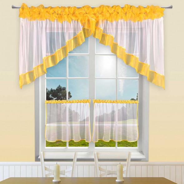 """Komplet kuchenny z zazdrostkami """"Delia"""" - 75x320 cm + (50x100 cm)*2 - biały/żółty"""