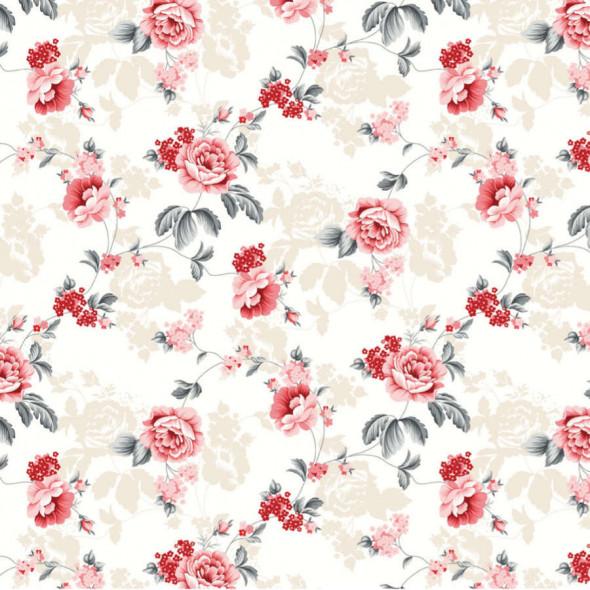 """Materiał na zasłony w kwiaty """"B09041-001"""" - szerokość 180 cm - ecru/czerwony"""