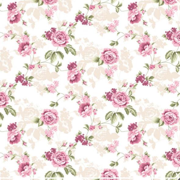 """Materiał na zasłony w kwiaty """"B09041-007"""" - szerokość 180 cm - ecru/różowy"""