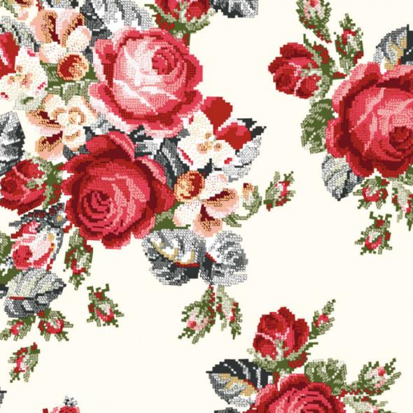 """Materiał na zasłony w kwiaty """"B10008-002"""" - szerokość 180 cm - ecru/czerwony"""