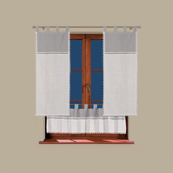 Zasłona gotowa SERENA - 150x60 cm - ivory/szary