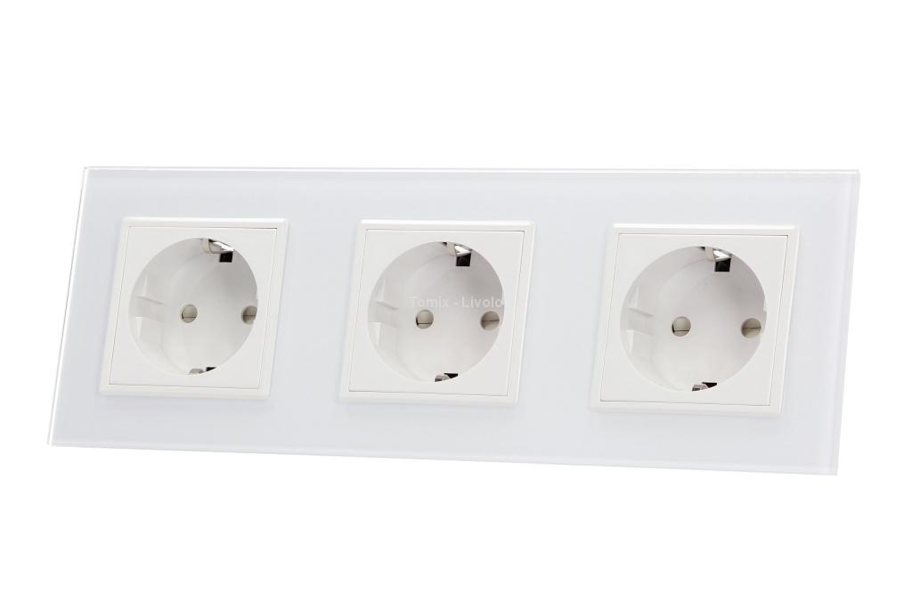 VL-W03G-61 Gniazdo potrójne elektryczne 16A LIVOLO biały panel szklany - dostępne od ręki!