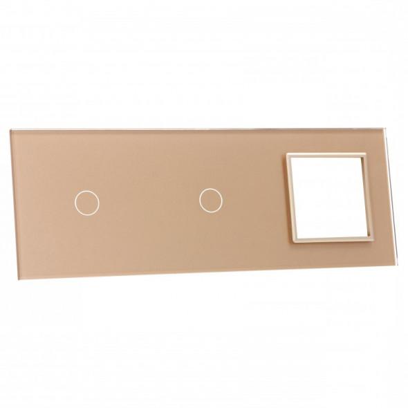 7011G-63 Złota ramka szklana LIVOLO z miejscem na dwa pojedyncze włączniki dotykowe