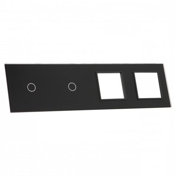 7011GG-62 Czarny panel szklany LIVOLO z miejscem na dwa pojedyncze włączniki dotykowe