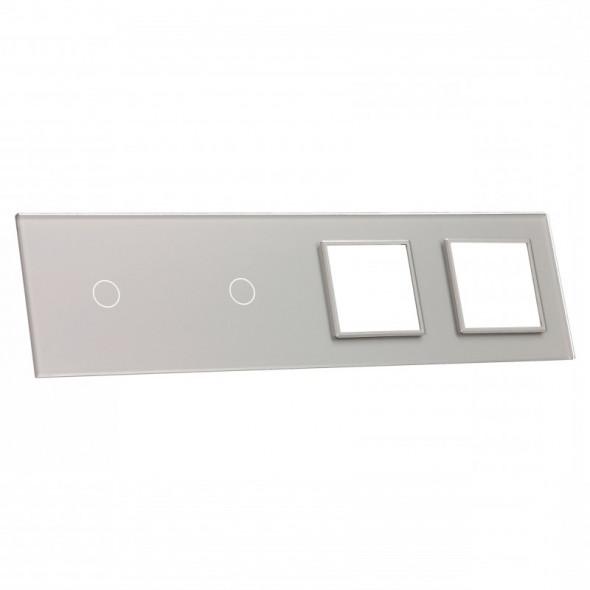 7011GG-64 Srebrny panel szklany LIVOLO z miejscem na dwa pojedyncze włączniki dotykowe