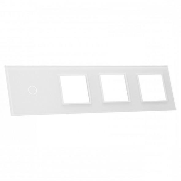 701GGG-61 Biały panel szklany LIVOLO z miejscem na jeden pojedynczy włącznik dotykowy