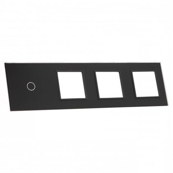 701GGG-62 Czarny panel szklany LIVOLO z miejscem na jeden pojedynczy włącznik dotykowy