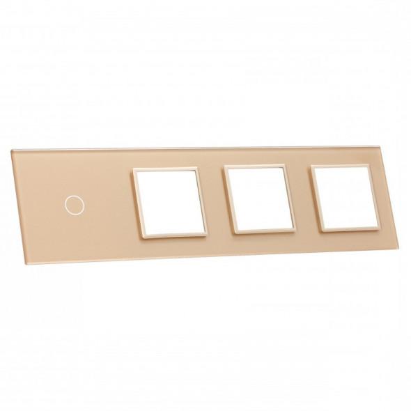 701GGG-63 Złoty panel szklany LIVOLO z miejscem na jeden pojedynczy włącznik dotykowy