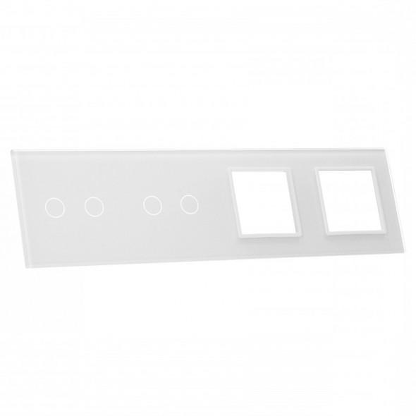 7022GG-61 Biały panel szklany LIVOLO z miejscem na dwa podwójne włączniki dotykowe