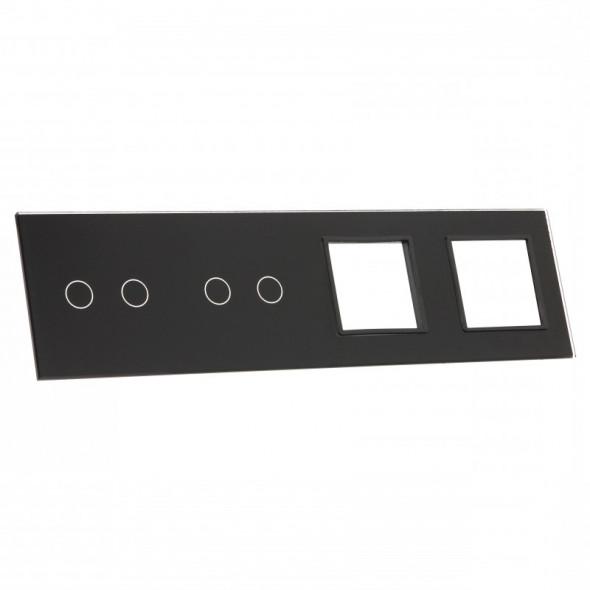 7022GG-62 Czarny panel szklany LIVOLO z miejscem na dwa podwójne włączniki dotykowe