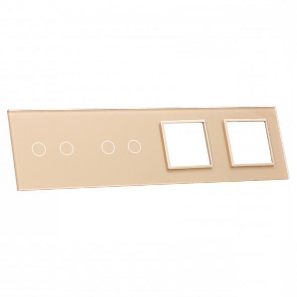 7022GG-63 Złoty panel szklany LIVOLO z miejscem na dwa podwójne włączniki dotykowe