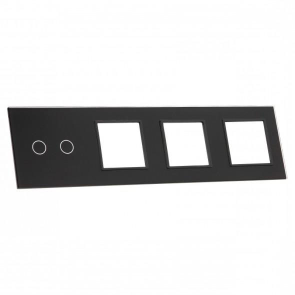 702GGG-62 Czarny panel szklany LIVOLO z miejscem na jeden podwójny włącznik dotykowy