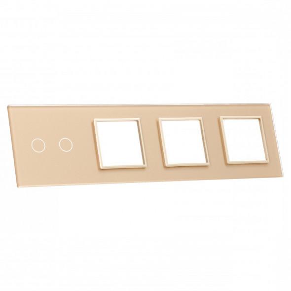 702GGG-63 Złoty panel szklany LIVOLO z miejscem na jeden podwójny włącznik dotykowy