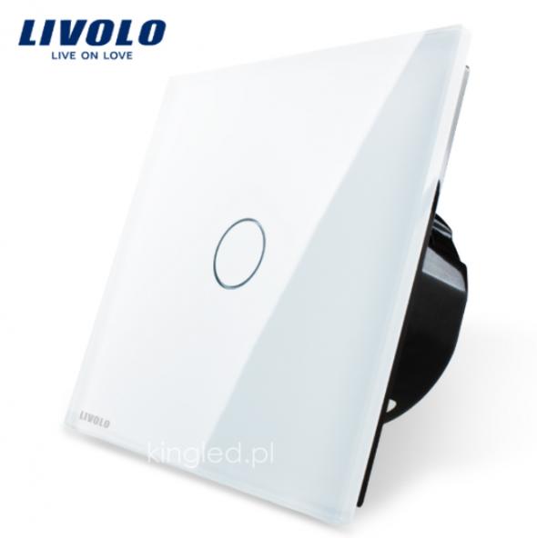 Włącznik dotykowy pojedynczy LIVOLO z bialym panelem szklanym