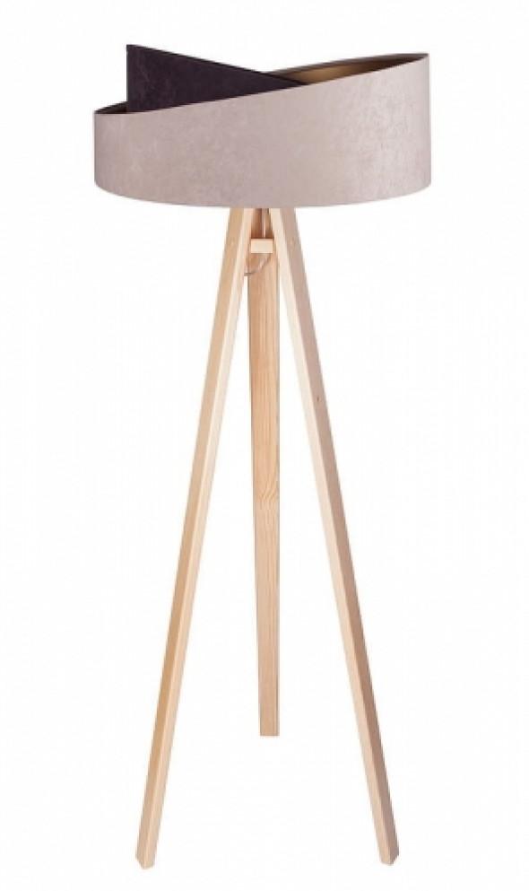Welurowa lampa podłogowa MD beżowa-brązowa ze złotym wnętrzem